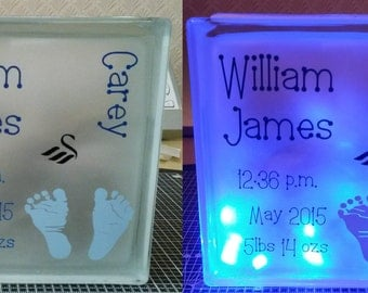 Personalised glass LED light blocks, battery operated night lights, baby birth light block, children's room light, decorative light block,
