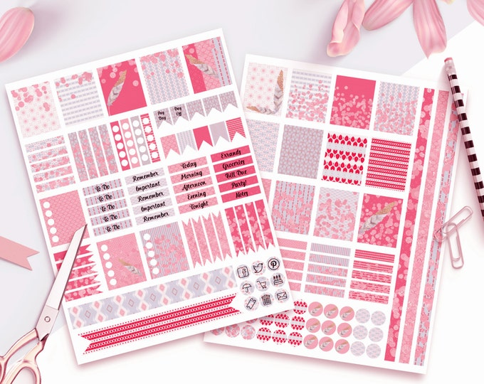 PLANNER STICKER Sheets Pink & Purple Lilac Feathers With Confetti Printable Digital Stickers DIY Erin Condren Life Planner Icons Flags More