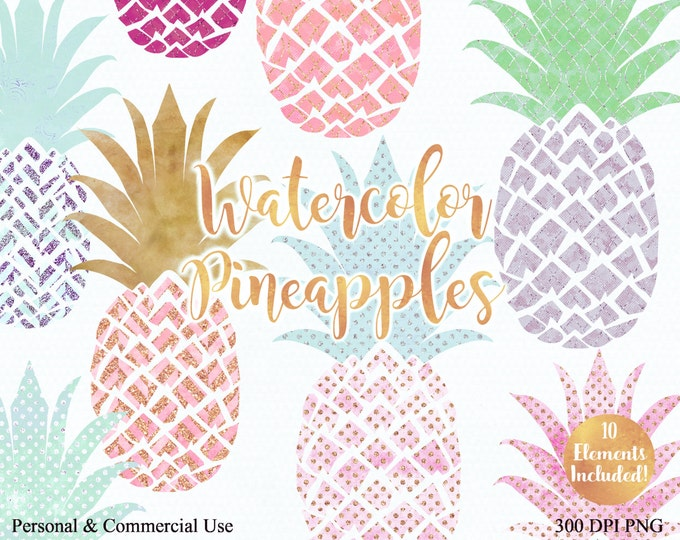 WATERCOLOUR PINEAPPLE CLIPART Commercial Use Clip art Fun Tropical Clip art with Gold 10 Pineapples Planner Tropical Beach Clip art