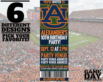 Auburn Tigers Birthday Invitation - Printable Auburn University Invite