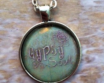 HALF OFF Sale - Gypsy Soul : Glass Dome Necklace, Pendant or Keychain Key Ring. Bohemian Marvels Jewelry Gifts and Presents.