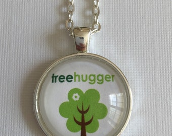 ON SALE Tree hugger (eco friendly)  : Glass Dome Necklace, Pendant or Keychain Key Ring. Gift Present metal round art photo jewelry.