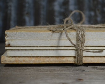 Stack of Uncovered Old Books for Display   Rustic Wedding Decor   Urban Cabin Decor   Raw Book Bundle with Twine   Decorative Old Books