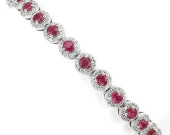 New Arrival Stunning 4.0 Ct TCW Genuine Natural Ruby Tennis Bracelet Sterling Silver