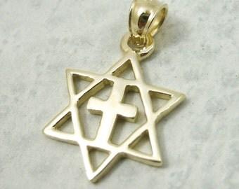 Solid 10K Yellow Gold Messianic Star of David Cross Pendant, 1.5 grams, Jewish