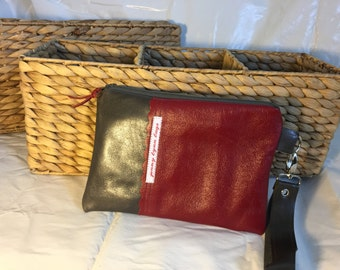 Gray and red leather wristlet combo