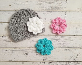 Interchangeable Flower Hat, Pick & Choose Flower Hat, Customize Flower Hat, Removable Flowers, Girls Changeable Flower Beanie, MADE TO ORDER