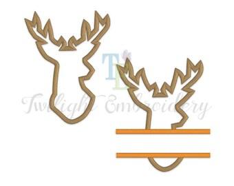 Set of 2 Deer Head Applique Machine Embroidery Designs, Deer Machine Embroidery Design, Deer Split Applique Machine Embroidery Design 0016