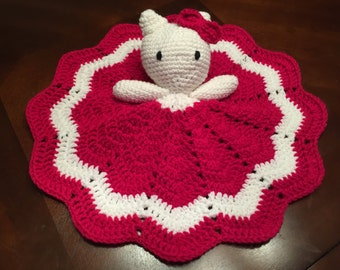 Crochet Hello Kitty Doll, Lovey, Security Blanket