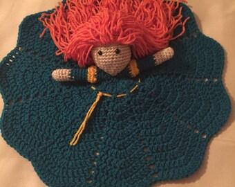 Crochet Disney Inspired Princess Merida Doll, Lovey, Security Blanket