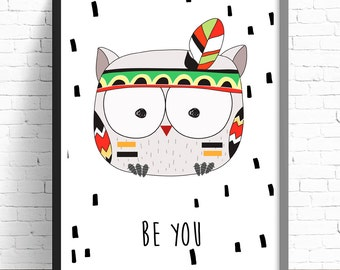 Tribal Owl Print - Nursery Prints - Kids Room Wall Art - A4 Print - 8x10 Print - Be You Nursery Print