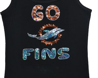 Miami Dolphins Bling Sequins Tank Top  Go Fins