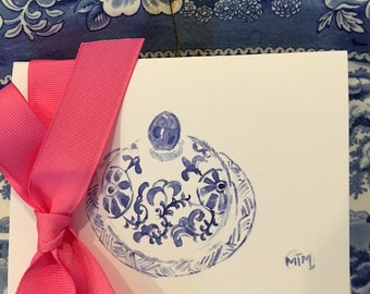 Blue and white ginger jar lid cards
