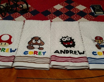 Super Mario Brothers Inspired Hand Towels