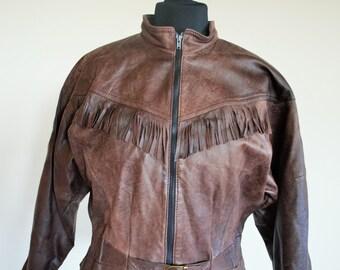 Vintage Genuine Leather Jacket / Brown / Fringe / Womens / Medium / Biker / Oversized / Hippie / Boho / Cropped / Fit / Petite