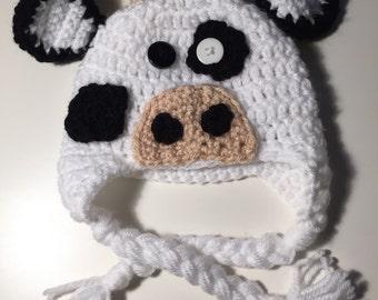 Homemade Cow Crochet Hat