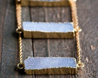 Druzy Bar Necklace,Rectangle Druzy Necklace, Druzy Necklace ,Gold Druzy Bar Necklace ,Druzy, Natural Druzy Bar Necklace,Drusy Necklace,Drusy