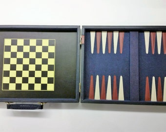 COMBINATION BACKGAMMON Plus 4 More GAMES Including Chess, Checkers, Dominoes, and Cribbage In Portable Case