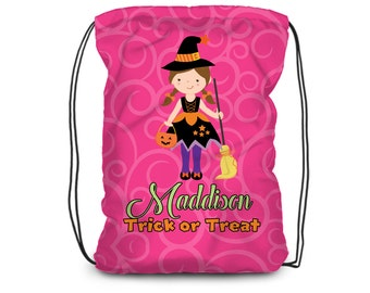 Halloween Drawstring Backpack - Pink Trick or Treat Bag, Black Witch Costume Personalized Backpack, You Pick Girl - Kids Trick or Treat Bag