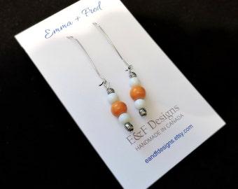 Handmade, kidney hook earrings in white and orange (silver)