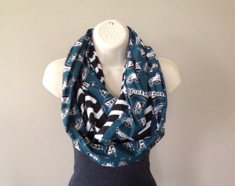 GO PHILADELPHIA EAGLES! Infinity scarf made with Eagles fabric. Women's alternative to Eagles jersey hoodie tshirt. Eagles gift idea