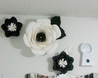 Large Paper Flowers, Black and White, Home Decor ,Wall decor, Event Decor, Office Decor