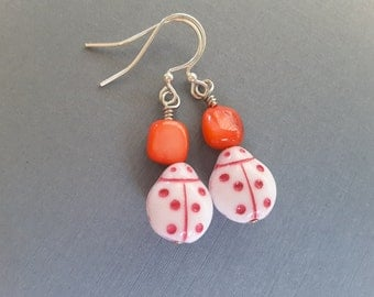 Summery Ladybug Dangles . Earrings