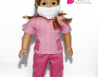 American made Girl Doll Clothes, 18 inch Girl Doll Clothing, Pink Scrubs Outfit made to fit like American girl doll clothes