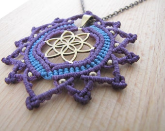seed of life pendant made of brass combine with purple and blue macrame wax thread and brass beads