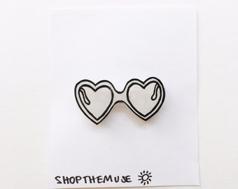 Heart Sunglasses Pin / Grunge Pin / Shades Brooch