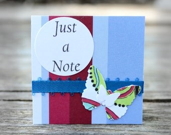 Mini Thank you Cards, handmade tags, 'just a note', blue and red, green and white, layered butterflies, with envelopes, set of 20 - 2 x 2 -