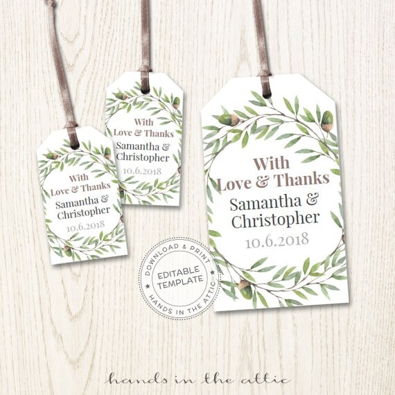 tags, wedding favors printable, editable labels, diy wedding favor ...