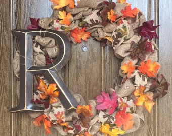 Monogram Fall Leaves Burlap Wreath