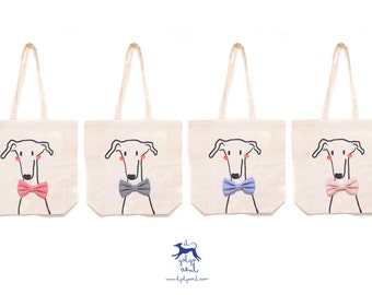 Greyhound tote bag bag, bow tie dog with bow-tie, lebrel bag/Totebag fabric greyhound