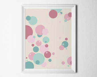 Printable wall art Instant download poster Blush print geometric Printables for the home Circle print digital Home decor art abstract