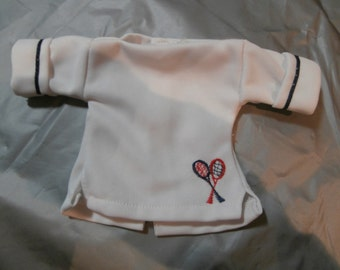 doll clothes, tennis jacket, white shirt, tag Fisher price,