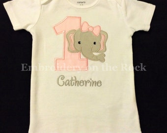Girl elephant 1st birthday, Personalized elephant birthday, elephant first birthday bodysuit, elephant birthday shirt, embroidered.