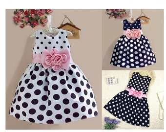 20% OFF SALE 3-8 Years Girls Dress- Girls Party Dress-Girls Polka Dot Dress- Girls Bowknot Dress- Girls Dresses, Girls Clothes- Girls Prince