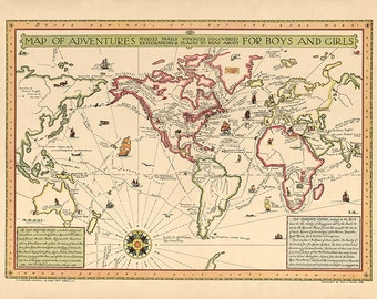 1925 World Map of adventures for boys and girls : stories trails voyages discoveries explorations & places to read about.