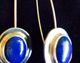 Lapis and sterling silver earrings on a hook