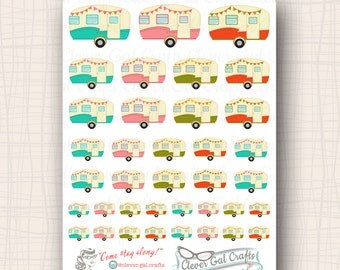 Decorative Planner Stickers | Retro Trailers | 37 Stickers Total | #SD25