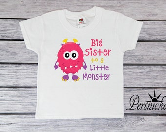 Big Sister Monster T-Shirt; Halloween Tee Shirt; Big Sister to a Little Monster Toddler T-shirt; Bodysuit; Big Sis Youth Tee Shirt; *16206