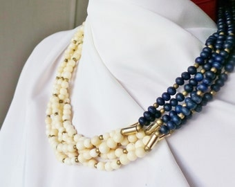Necklace multi-row Jeanne Peral vintage white and indigo plant pearls