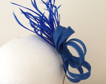 Royal blue fascinator, wedding guest, ascot, kentucky derby, ladies day
