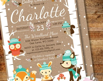 Winter Woodland Baby Shower Invitation