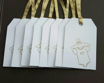 Gift Tags - baby shower Gift Tags - baby gift tags - gold baby shower - gold tags - baby shower favor tags- set of 8