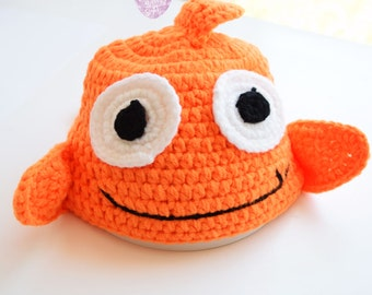 Crochet Baby Hats, Knitted Infant Fish Hat, Baby Hat Fish Character