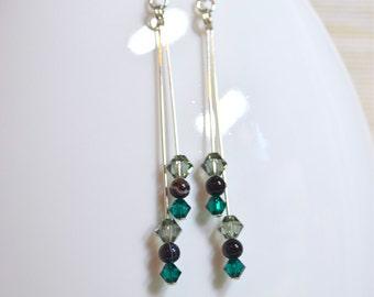 Black Agate, Crystal & Sterling Silver Earrings