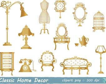 furniture clip art, Vintage Furniture, Gold Clip Art images for Scrapbooking, Card Making Paper Crafts - instant download digital file - PNG