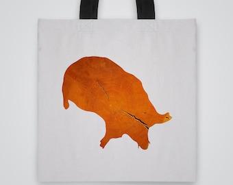 Wood Mole Silhouette Tote Bag - Art Tote - Market Bag - Shoulder Bag - Canvas Bag